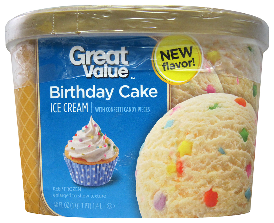 Great Value Ice Cream Birthday Cake Flavor USA Flavored With Confetti Candy Pieces